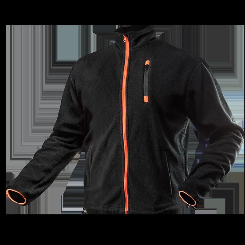 Куртка 81-500 из высококачественного флиса,  3 кармана на молнии, черно-оранжевого цвета. NEO TOOLS