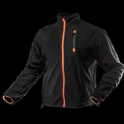 Куртка 81-500 из высококачественного флиса,  3 кармана на молнии, черно-оранжевого цвета. NEO TOOLS, фото 2