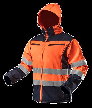 Куртка рабочая 81-701 сигнальная softshell с капюшоном NEO TOOLS, фото 2