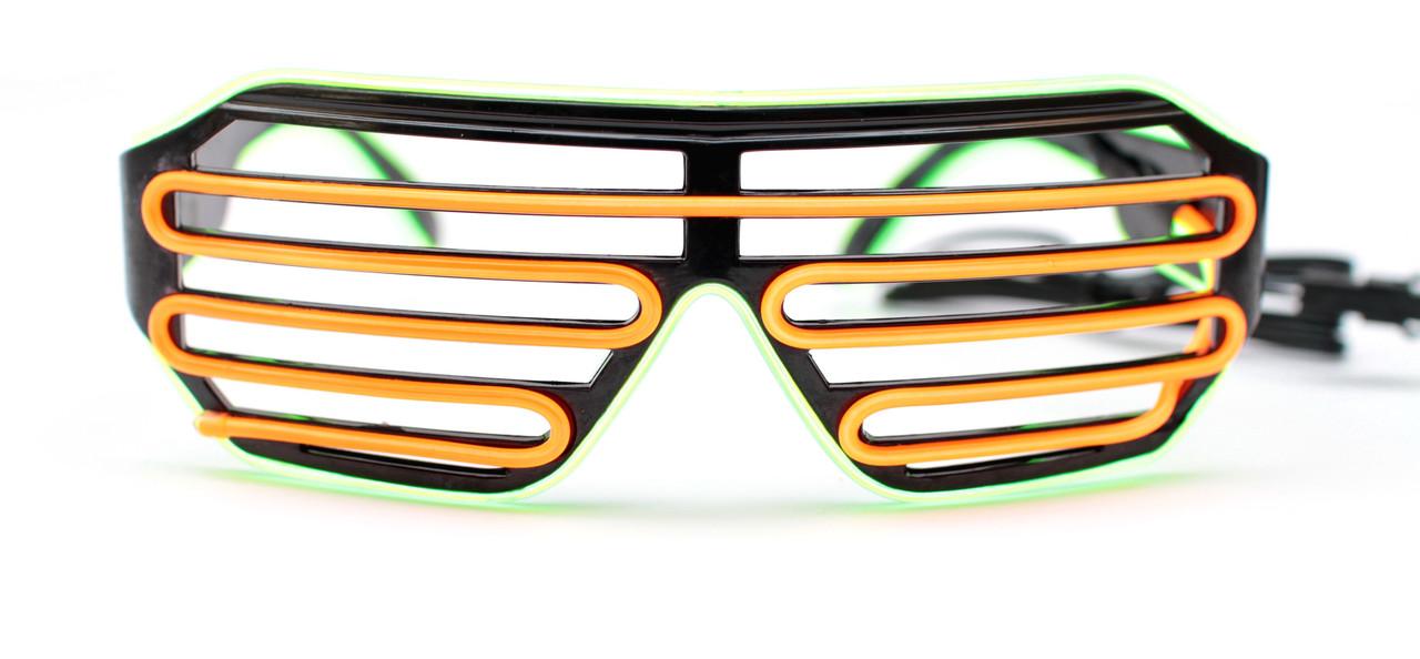 Светодиодные неоновые светящиеся ЛЕД очки решетка шторы комплект с инвентором LED Neon Party Glasses