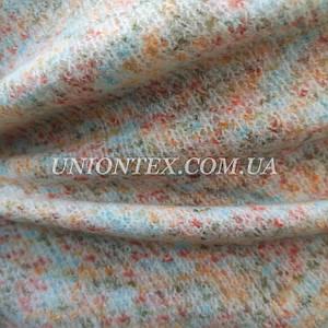 Трикотажная пальтовая ткань меланж персиковая