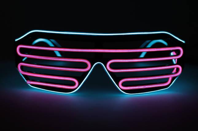 Светодиодные неоновые светящиеся ЛЕД очки решетка шторы комплект с инвентором LED Neon Party Glasses, фото 2