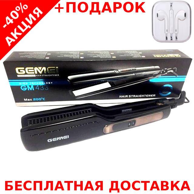 Профессиональный утюжок - выпрямитель для волос Gemei GM433 с керамическим покрытием + наушники iPhone 3.5