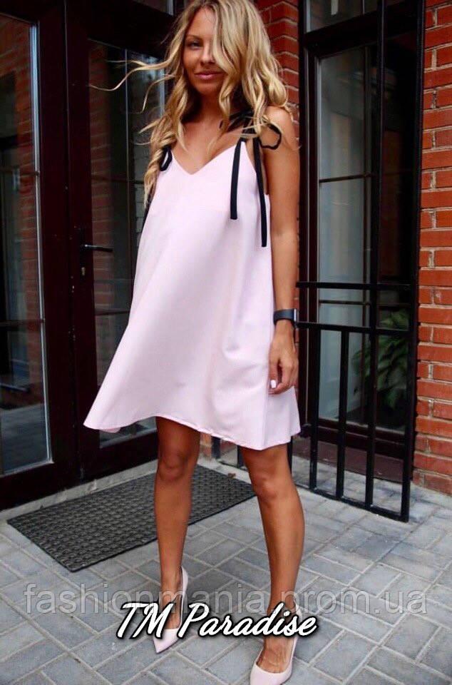 Платье с завязкой на плечах персик,чёрное,голубое