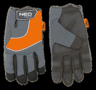 Перчатки рабочие, синтетическая кожа, вставки из ПВХ 97-605 NEO TOOLS