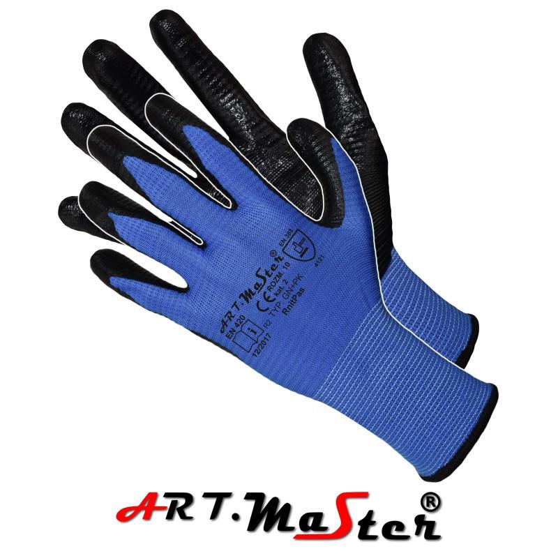 Защитные рукавицы RnitPas изготовленные из полиэстера, покрытые нитрилом. ARTMAS POLAND