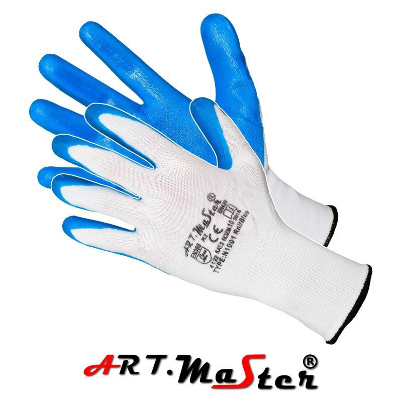 Перчатки RnitBlue защитные, изготовленные из полиэстера, покрытые нитрилом ARTMAS POLAND