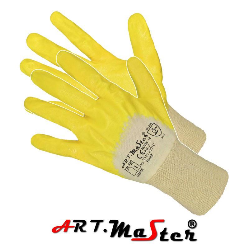 Защитные рукавицы RNITż покрытые нитрилом, завершенные трикотажной резинкой желтого цвета ARTMAS POL
