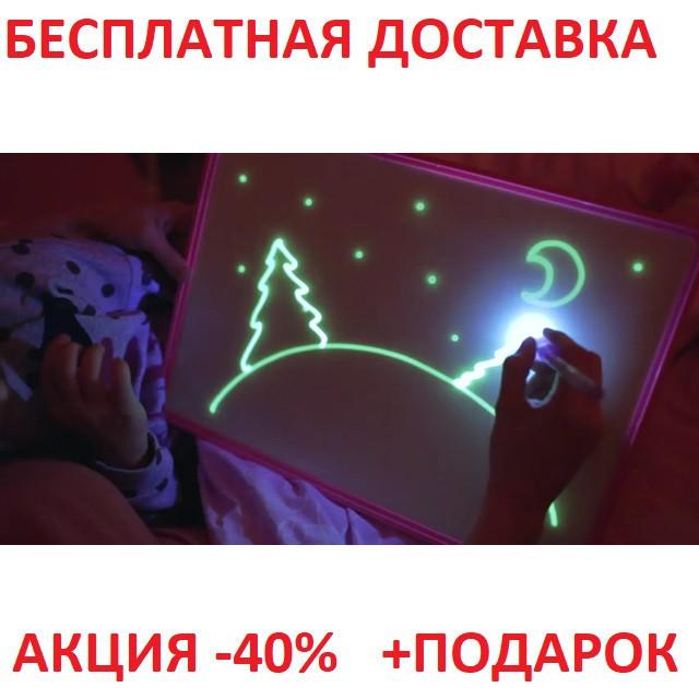 Набор для творчества Рисуй светом, CARDBOARD CASE планшет для рисования в темноте А4