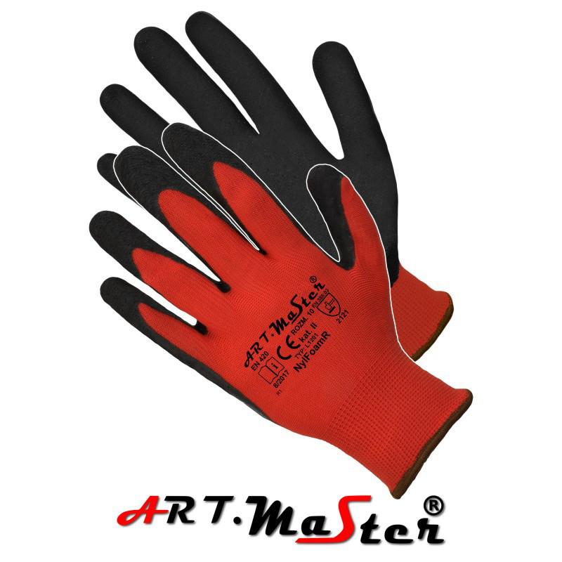 Перчатки NylFoam Red защитные, изготовленные из полиэстера, покрытые латексом ARTMAS POLAND