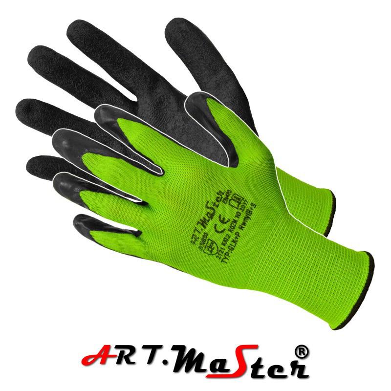Перчатки  RWnyl B+S защитные, изготовленные из полиэстера, покрытые латексом ARTMAS POLAND