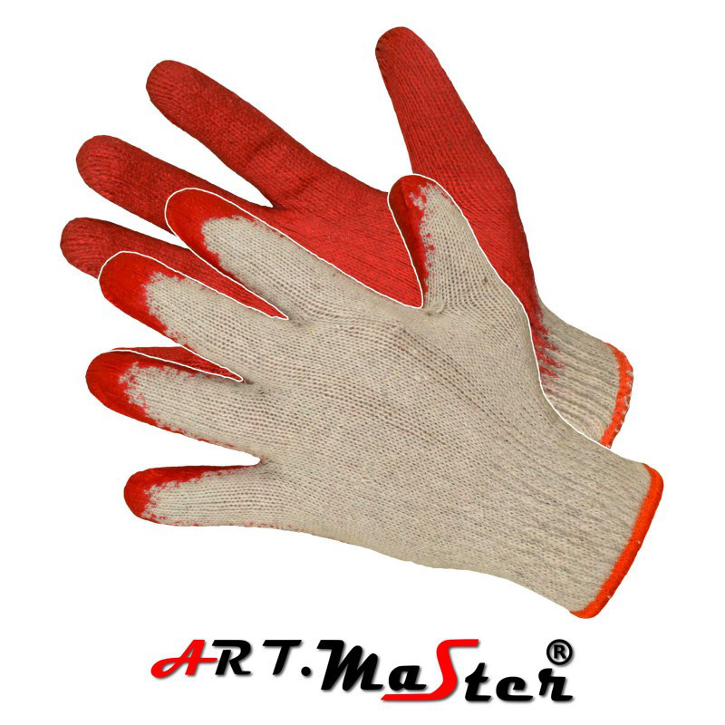 Перчатки RW L red защитные, покрытые латексом красного цвета ARTMAS POLAND