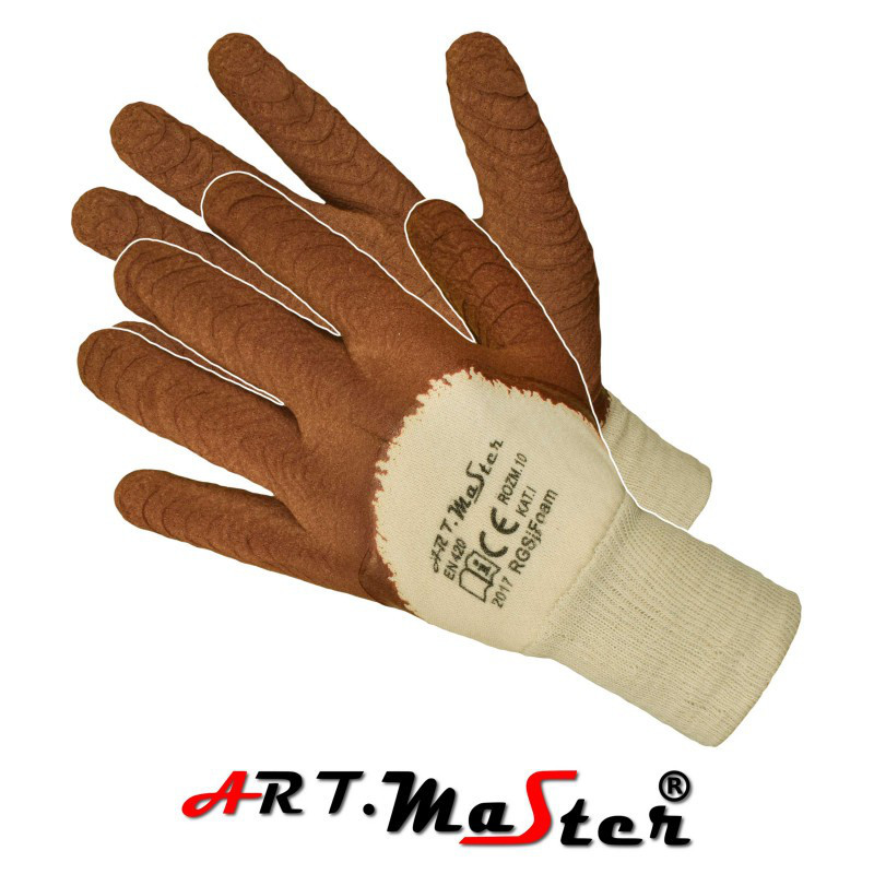 Защитные перчатки RGSj FOAM покрытые латексом внутри из тика ARTMAS POLAND