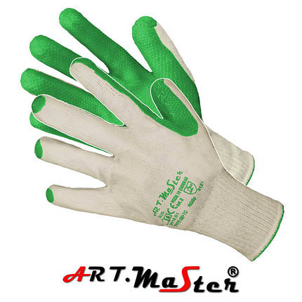Защитные рукавицы RGSp Zielone с покрытием, завершенные резинкой ARTMAS POLAND, фото 2