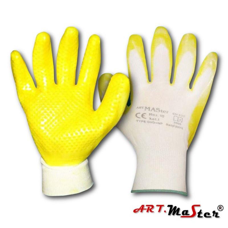 Защитные перчатки RWnylPVC+K покрытые смесью латекса и ПВХ ARTMAS
