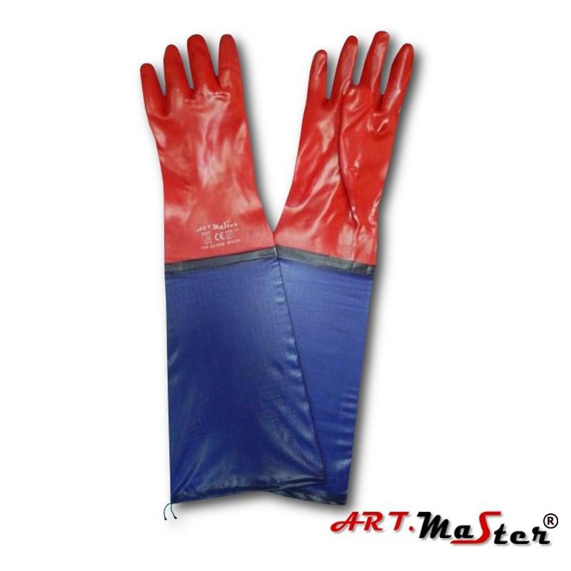 Защитные рукавицы RPVCD60 изготовленные из ПВХ и заканчивающиеся рукавом ARTMAS