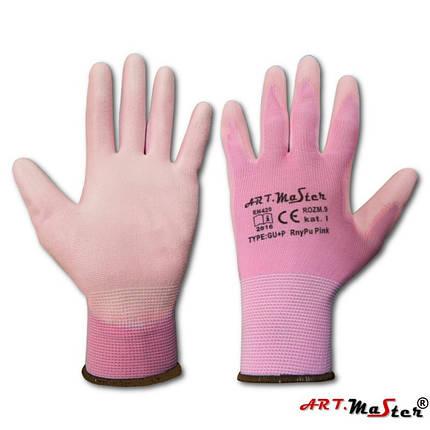 Защитные рукавицы RnyPu Pink изготовленные из полиэстера, покрытые полиуретаном ARTMAS, фото 2