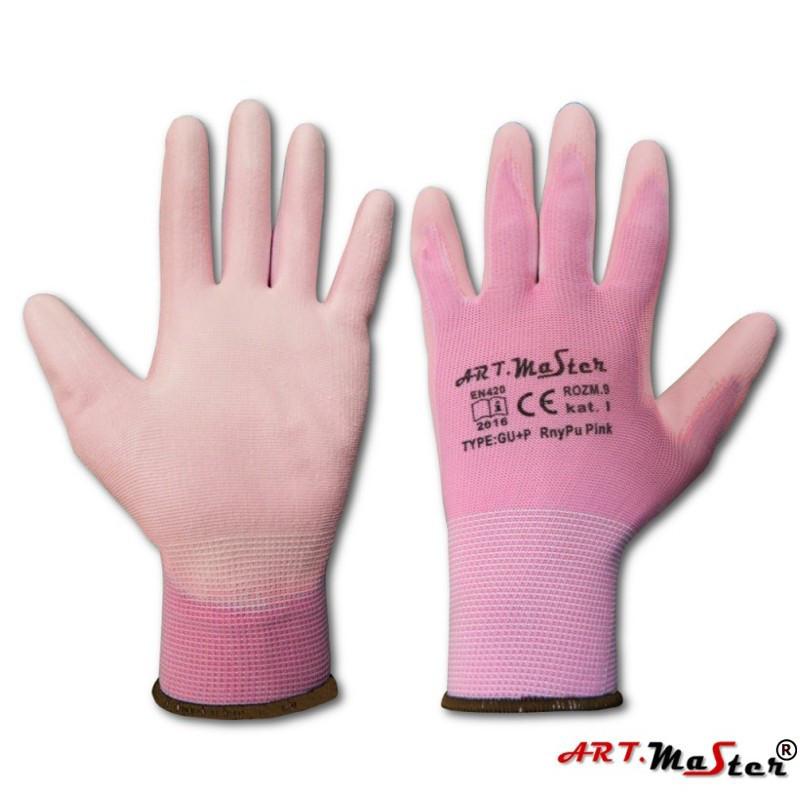 Защитные рукавицы RnyPu Pink изготовленные из полиэстера, покрытые полиуретаном ARTMAS