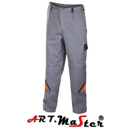 Брюки рабочие PROFESSIONAL Grey Spod. Pas серого цвета с оранжевыми и черными  вставками ARTMAS, фото 2