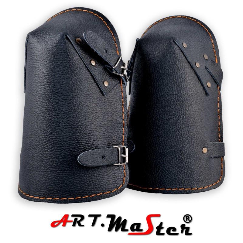 Кожаные наколенники NKS черного цвета ARTMAS