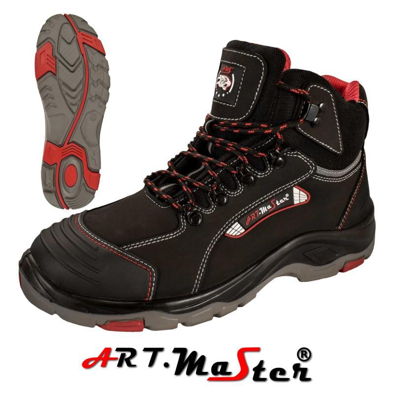 Защитные ботинки BTNRed череного цвета с красными елементами  ARTMAS
