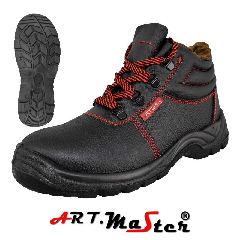 Зимние защитные ботинки BTPuOC B черного цвета с красными вставками ARTMAS