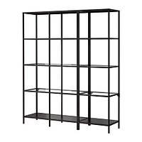 VITTSJÖ Шкаф, черно-коричневый, стекло, 151x175 см 599.026.58
