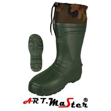 Легкие сапоги из материала Kalosze 56013 TORINO kołnierz зеленого цвета EVA ARTMAS 44, фото 2