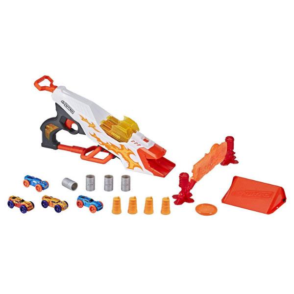 Nerf Бластер стреляющий машинками и 4 машинки E0858 Doubleclutch Inferno Nitro Toy Includes Blaster