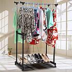 Вешалка-стойка для одежды Double Bar Rack Hight Ajustable, напольная, двойная, телескопическая (30 кг), фото 6