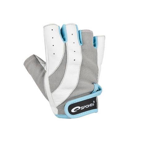 Перчатки для фитнеса женские Spokey ZOE L Бело-серые с голубым (s0188), фото 2