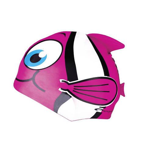 Шапочка для плавания Spokey Rybka для детей Onesize Розовая (s0107), фото 2