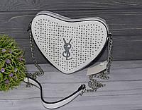 Стильная белая летняя сумка в виде сердца, фото 1