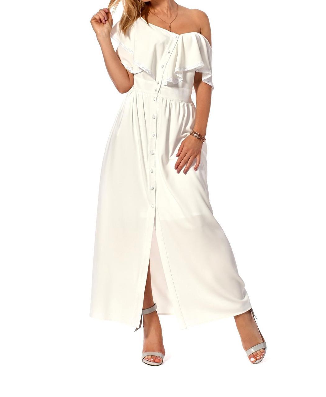 Длинное коктельное платье в белом цвете