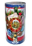 Пластиковый тубус праздничный Новогодний, Часы, 110*200мм