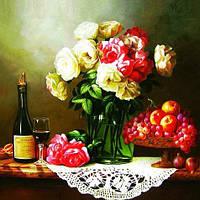 Алмазная вышивка Натюрморт Розы фрукты ваза цветы 30х30. Набор для рукоделия.