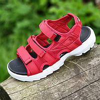 Босоножки сандалии женские красные на липучках  (код 782)