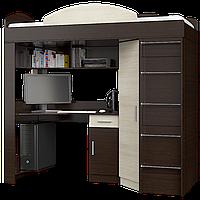 Кровать-чердак со столом и шкафом Эверест Венге темный + Дуб молочный (Е-6)