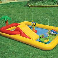 Надувной игровой центр Intex 57454 «Аквапарк», 254 х 196 х 79 см, с надувными кольцами, игрушками и горкой