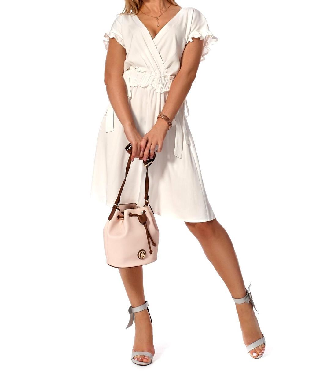 Платье коктельное молодежное в белом цвете