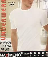 Чоловіча футболка бавовна - 100% MAXIMENO Туреччина розмір S (44-46) біла