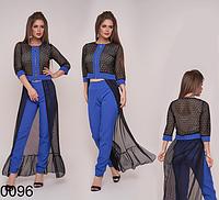 Вечерний женский костюм брюки с блузкой (электрик) 830096