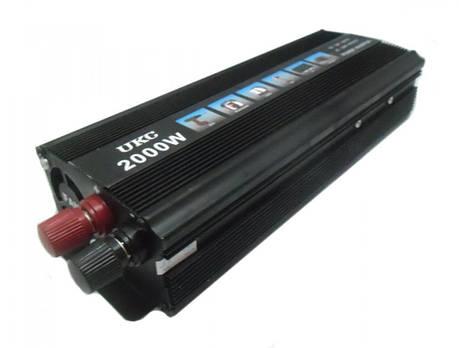 Инвертор преобразователь напряжения UKC 12-220 V 2000 W Черный (hub_np2_1126), фото 2