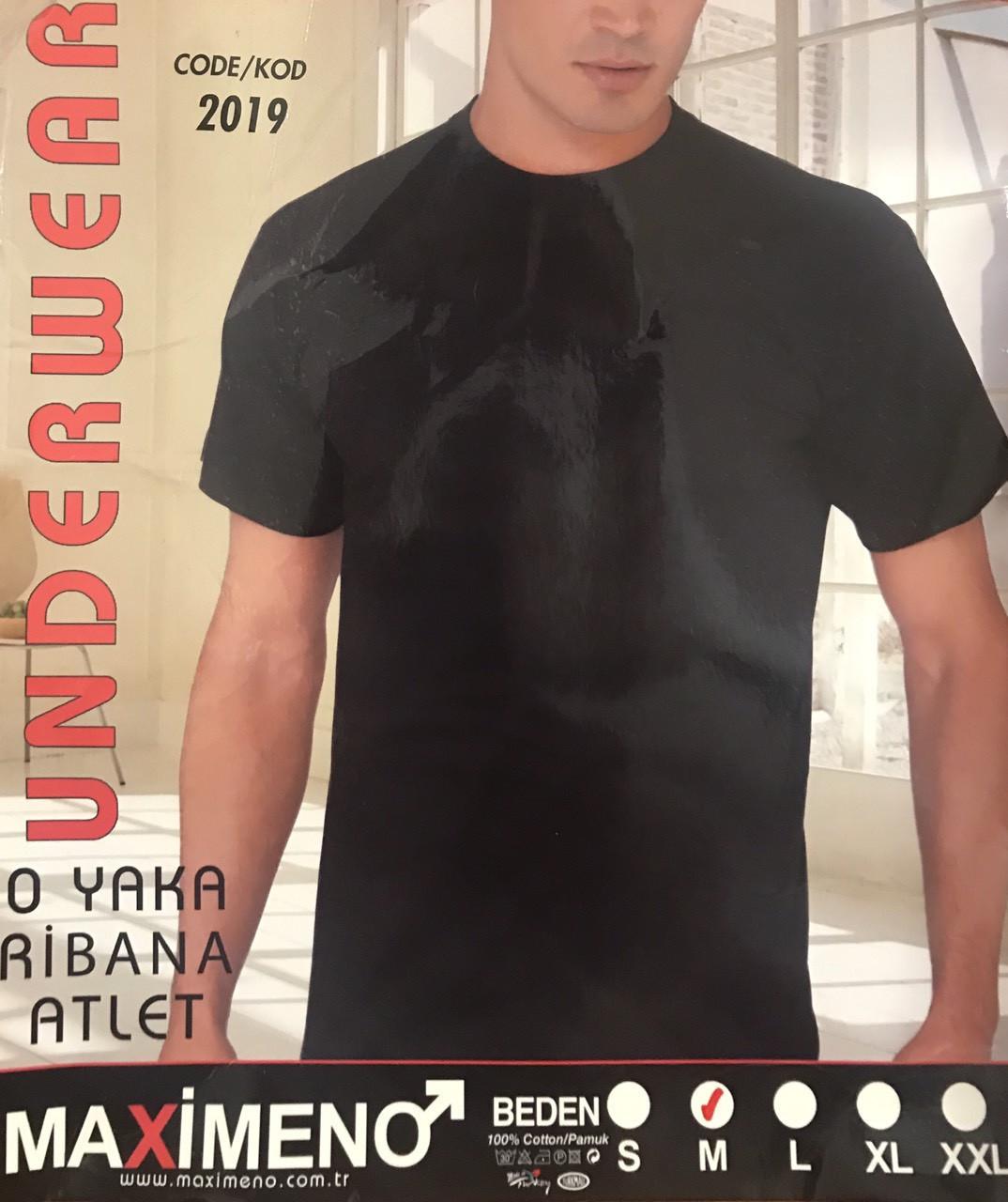 Мужская футболка хлопок - 100% MAXIMENO Турция размер XL (50-52) чёрная