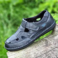 Туфли мужские летние открытые повседневные кожаные черные, сандалии (Код: 1497)