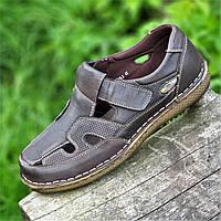 Туфли мужские летние открытые повседневные кожаные, сандалии (Код: 1498)