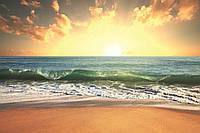 Фотообои флизелиновые 3D Пляж 375х250 см Морской закат (MS-5-0209)