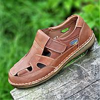 Туфли мужские летние открытые повседневные кожаные, сандалии (Код: 1499)