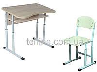Комплект: стол (парта) ученический 1-местный антисколиозный, №4-6 + стул, регулируемый по высоте