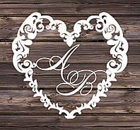 Свадебный герб, инициалы на свадьбу, монограмма, семейный герб из дерева - сердце  5